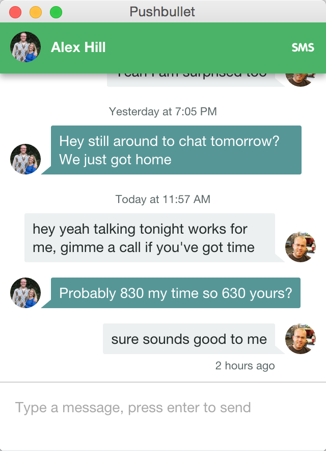 message and chat